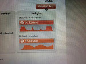 Hastighedstest målt i et yderomåde på den nye type accesspoint.